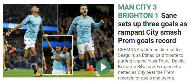 The Sun chỉ điểm qua kỷ lục của Man City