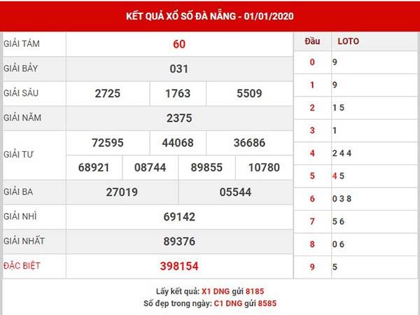 Soi cầu kết quả XS Đà Nẵng thứ 7 ngày 04-01-2020