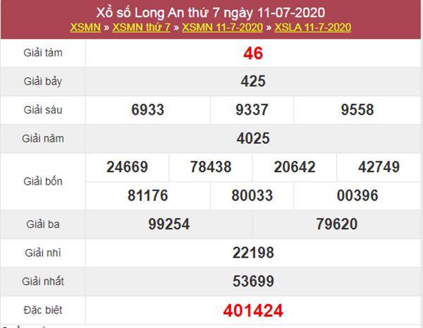 Thống kê XSLA 18/7/2020 chốt KQXS Long An hôm nay