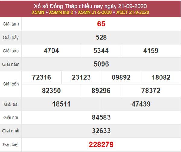 Soi cầu XSDT 28/9/2020 chốt lô VIP Đồng Tháp thứ 2