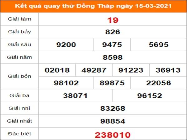 Quay thử kết quả xổ số Đồng Tháp 15/3/2021