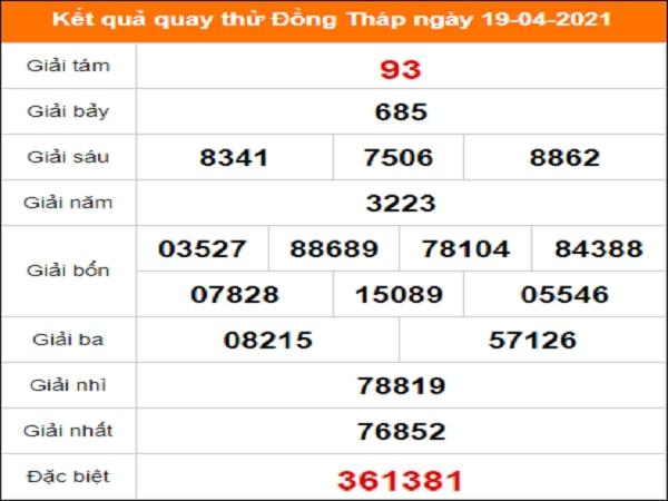 Quay thử kết quả xổ số Đồng Tháp 19/4/2021