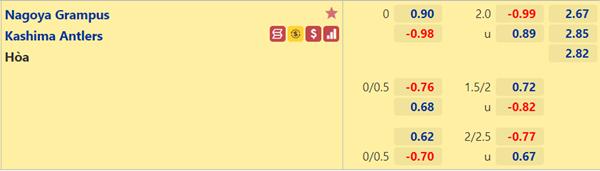 Kèo bóng đá giữa Nagoya Grampus vs Kashima Antlers